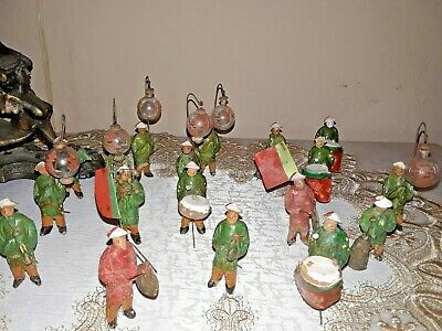 Lot of 17 Rare Antique Chinese Miniature Mudman Figurines w/ Lanterns Drums Gong
