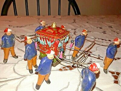 Set of 8 Rare Antique Chinese Miniature Mudman Figurines w/ Palaquin Sedan Chair