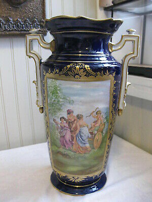 "Antique French Hand Painted Sevres Porcelain Victorian Vase 13 1/4"" T"