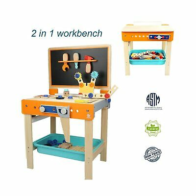 TOP BRIGHT Tool Bench Set Kids Toy Play Workbench for Toddler Workshop, Woode...