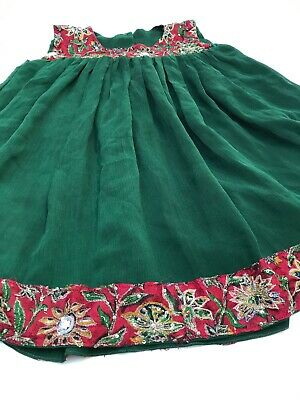 AGE 2-3 YEARS GIRLS GREEN DRESS CHIFFON EMBROIDERERED LACE Party Wear Sleeveles