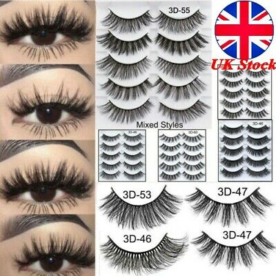 UK 5 Pair 3D Mink False Eyelashes Wispy Cross Long Thick Soft Fake Eye Lashes MA
