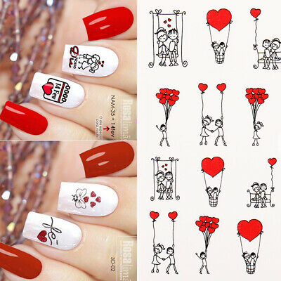 16 Sheets Valentine's Day Nail Water Decals Heart Transfer Nail Art Stickers DIY