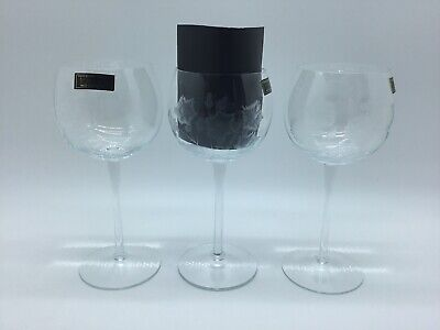 3 Vintage Toscany Long Hand Blown Cut Wine Water Glasses Etched Flowers Floral