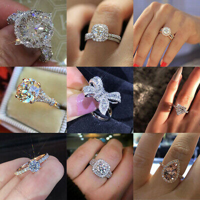 Elegant Women 925 Silver Jewelry Wedding Set Rings White Sapphire Ring Size 5-11