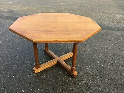 Arts & Crafts Octagonal Oak Dining / Library Table S. Hille London Circa 1920