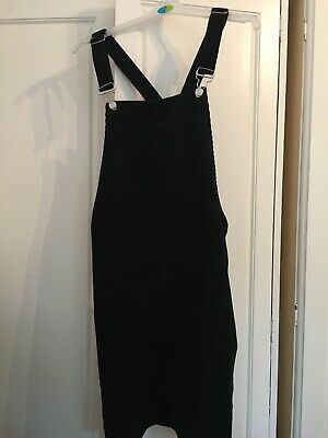 Primark Black Corduroy Pinafore/Dungaree Dress Size 16