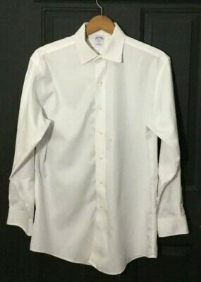 Mens Brooks Brothers Slim Fit Solid White Long Sleeve Button Shirt M 16 2/3