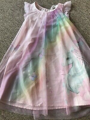 BNWT Girls Gorgeous Pink Unicorn Sleeveless Party Dress from H&M age 4-5 years