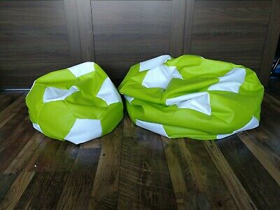 Kids Bean Bags XL Large Childrens Faux Leather Football Lemon & White Chair