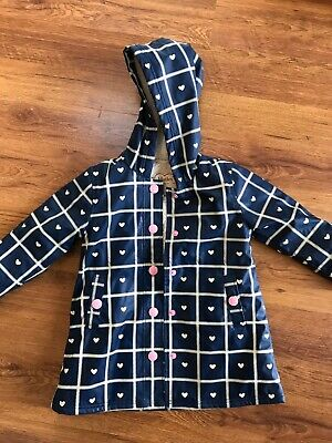 Hatley Girls Blue Rain Coat Jacket Age 5 Years Hooded Fleece Pocket Lined