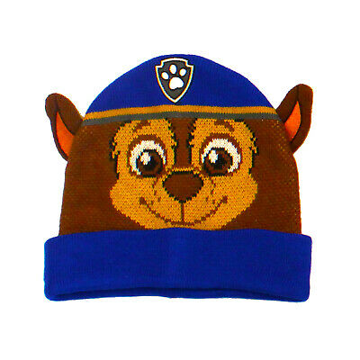 Licensed Kids Paw Patrol Chase Winter Beanie Bobble Hat Age 4-7 Years 3D Ears