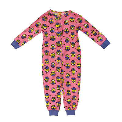 Licensed Girls Kids Minions All In One Sleepsuit Jumpsuit Pj 4-5 Years Pink