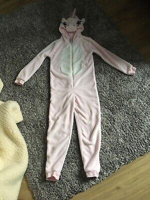 Girls Fleece Unicorn Onesie (not Gerber) Age 10-11 Years Worn Once