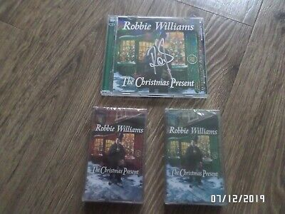 Robbie Williams The Christmas Present Signed Deluxe Cd + Double Cassette Bundle