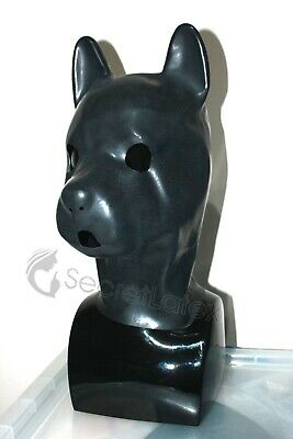Latex Puppy Mask Black Rubber Hood Dog Full Head Animal Pet Play Mens Man Zip