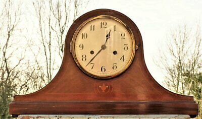 Large Antique inlaid wooden mantle clock Mahogany striking wind up working