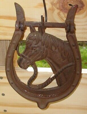 Antique Cast Iron Rustic HORSE HEAD HORSESHOE Door Knocker Western Ranch Decor