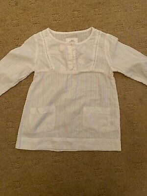 H & M Girls White Smock Style Cotton Top 86 Approx Age 2-3 Years