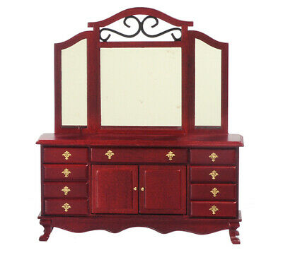 Miniature Dresser with Mirror in Mahogany by Town Square Miniatures