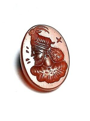 Authentic Original Meso Carnelian Agate Intaglio Arab King Deer Seal Stamp