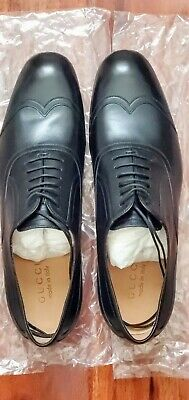 New Genuine Men Gucci Black Leather Lace-Up Oxford Dress Shoes 7.5 (USA 8.5-9)