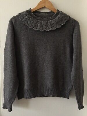 Margaret Howell Grey Lace Collar Cashmere & Wool Jumper Size 8
