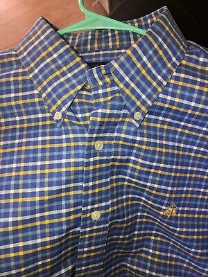 Brooks Brothers Shirt Blue Solid Cotton $99 Madison Non-Iron XL Extra Large