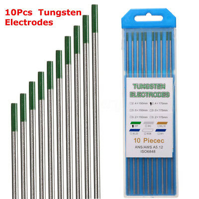 "Green Tip Pure Tungsten Electrode 2.4mm X 150mm 3//32/"" X 6/"" TIG Electrode 10PK"