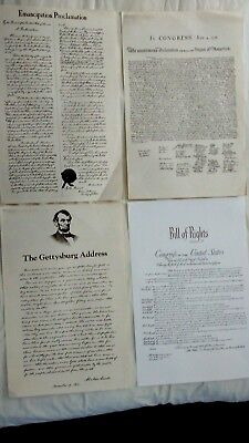 4 LOT Emancipation Independence Bill of Rights Gettysburg President Poster 2020