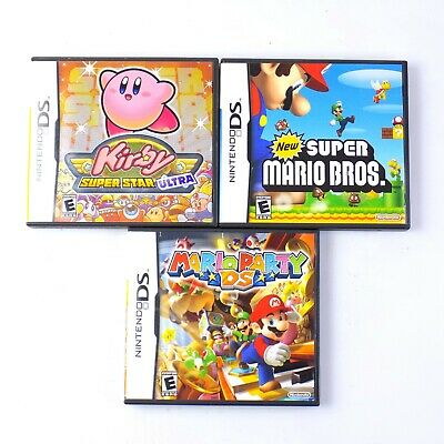 Super Mario Kirby Super Star Ultra Mario Party Nintendo DS Game Lot Of 3