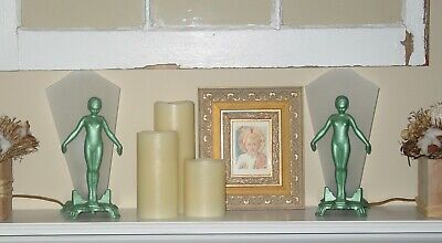 Antique 1920's Original Painted Cast Iron Art Deco Nude Women Mantle Lamps