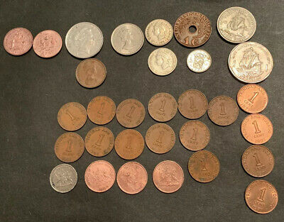 Lot Of 31 Caribbean Coins 1945-2000 Some Silver!