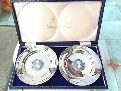 PAIR OF CHARLES & DIANNA WEDDING DISHES - Mappin & Webb and Wedgewood.