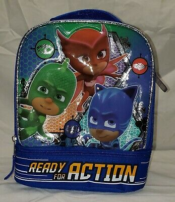 PJ MASKS Gekko Catboy Owlette Lead Safe Dual Chamber Insulated Lunch Tote Box