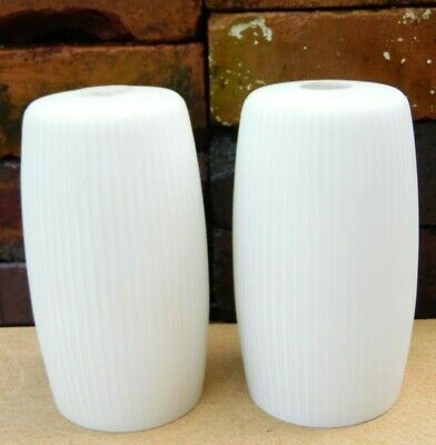 Pair of Vintage Original Retro Small White Grooved Glass Light Lamp Shades