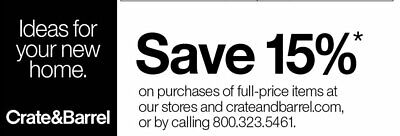 Crate Barrel 15% off Entire Order Coupon (includes Furniture) Exp 03/31/19