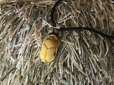 Ancient Scarab Carved Petrified Wood Sterling Silver Woven Necklace Antique
