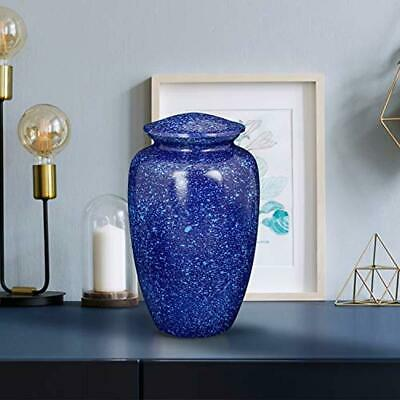 Large Blue Cremation Urn For Adult Human Ashes With Lid BRASS Funeral Urn NEW