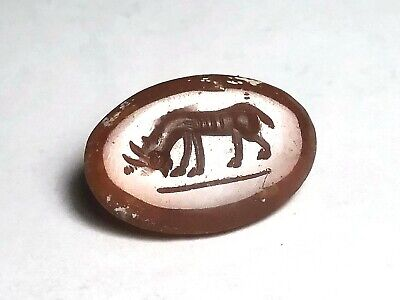 original antique agate and HORSE  intaglio seal near Eastern rolling seal