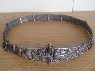 Silver Rajasthani Rajastan Ethnic Tribal India Indian Woven Chain Belt AS IS