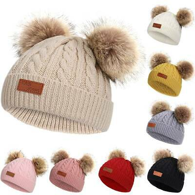 UK Kids Children Boys Girls Cable Knitted Beanie Hats Soft Caps Fluffy 2 Pom Hat