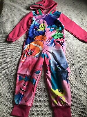 Trolls Girls Fleece All In One Pyjamas Age 5-6 Years And Stationary Set