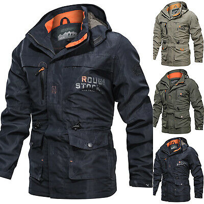 Mens Winter Waterproof Military Jackets Hooded Breathable Work Tactical Coats UK
