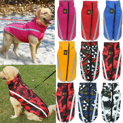 Waterproof Warm Dog Coat Clothes Padded Vest Pet Jacket Medium/ Large Winter UK