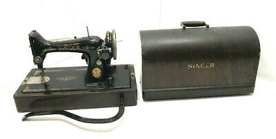 Antique Singer Sewing Machine with Leg Pedal and Wooden Case AA701744