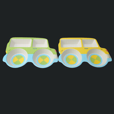 Lunch Bamboo Fiber Compartment Baby Tableware Plate Dinnerware Car Shaped N7