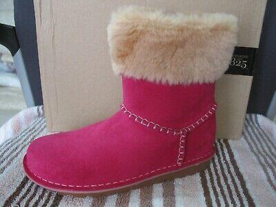 New Clarks Older Girls Greeta Fur Lined Winter Pink Suede Boots Size 4.5 F Fit