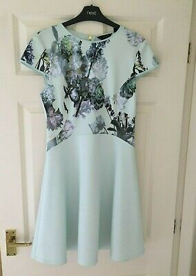 TED BAKER sz 12  ( 3 ) MINT GREEN FLORAL SKATER DRESS XMAS PARTY FIT AND FLARE