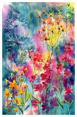 Magical Spring - Original watercolor painting signed, countryside bloom flowers